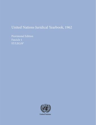 image of United Nations Juridical Yearbook 1962