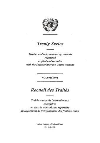 image of No. 33484. International Tropical Timber Agreement, 1994. Concluded at Geneva on 26 January 1994