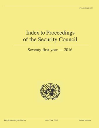 image of Index to Proceedings of the Security Council