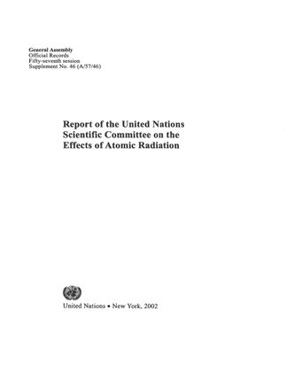 image of Report of the United Nations Scientific Committee on the Effects of Atomic Radiation (UNSCEAR) 2002
