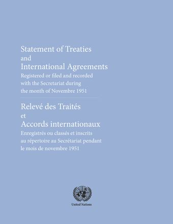 image of Treaties and international agreements filed and recorded during the month of November 1951 Nos. 353 to 367