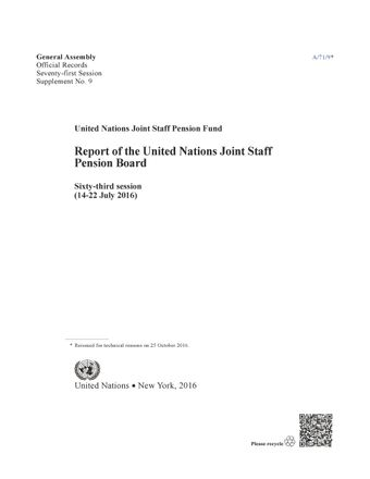 image of Report of the United Nations Joint Staff Pension Board