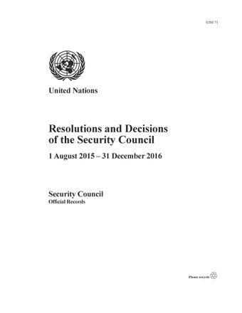 image of Checklist of statements made by the President of the Security Council from 1 August 2015 to 31 December 2016