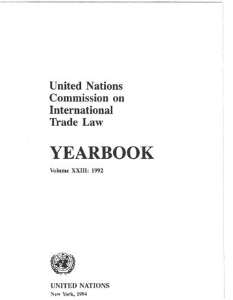 image of United Nations Commission on International Trade Law (UNCITRAL) Yearbook 1992