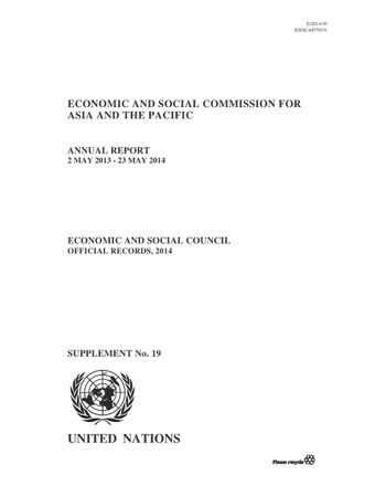 image of Annual report of the economic and social commission for Asia and the Pacific 2014