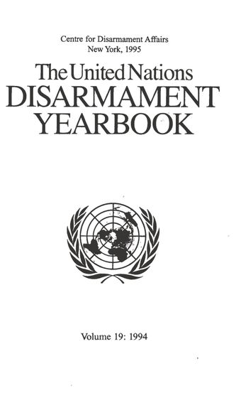 image of United Nations Disarmament Yearbook 1994