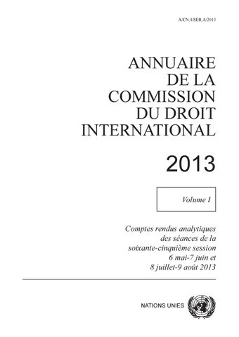 image of Annuaire de la commission du droit international 2013, Vol. I