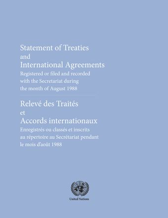image of Original treaties and international agreements registered during the month of August 1988: Nos. 26118 to 26129
