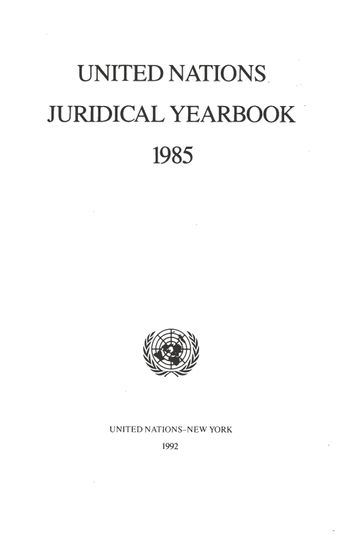 image of United Nations Juridical Yearbook 1985