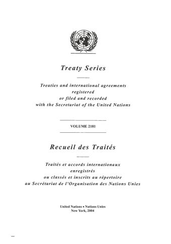 image of Treaty Series 2181