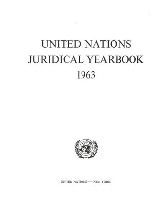 image of United Nations Juridical Yearbook 1963