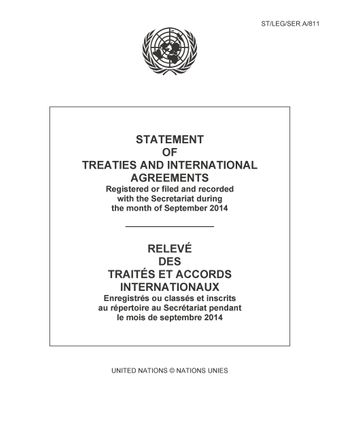 image of Original treaties and international agreements filed and recorded during the month of September 2014: No. 1374
