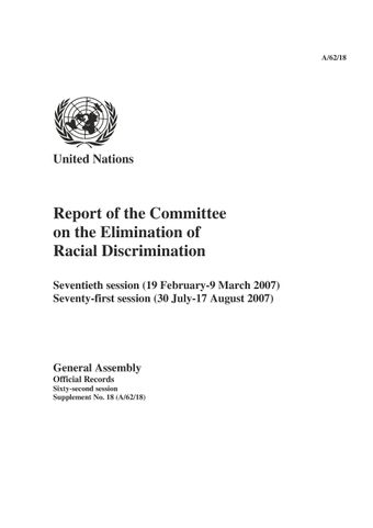 image of Report of the Committee on the Elimination of Racial Discrimination