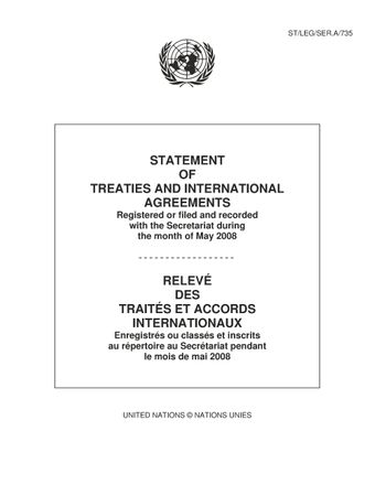 image of Original treaties and international agreements registered during the month of May 2008: Nos. 44910 to 44969