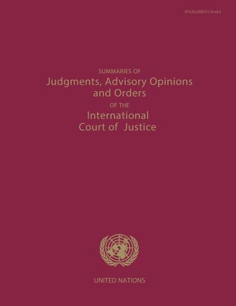 image of Summaries of judgments, advisory opinions and orders of the permanent court of international justice 2008-2012