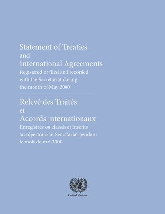image of Original treaties and international agreements registered during the month of May 2000: Nos. 36606 to 36654