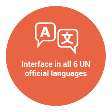 Interface in all 6 UN official languages