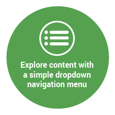 Explore content with a simple dropdown navigation menu